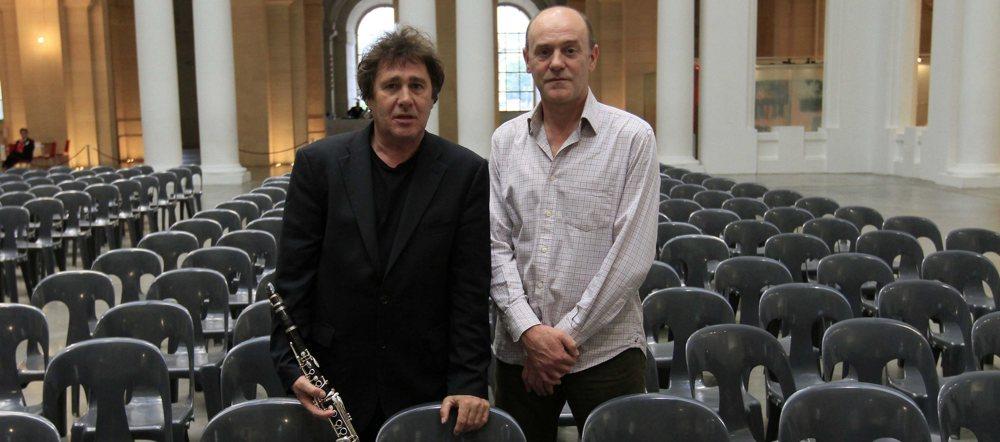 Louis Sclavis (clarinette) et Jacques Bonnaffé – Photo Hervé Leteneur